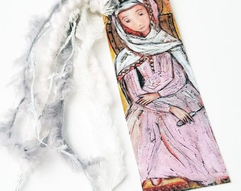Mater Admirabilis -  Laminated Bookmark  Handmade - Original Art by FLOR LARIOS