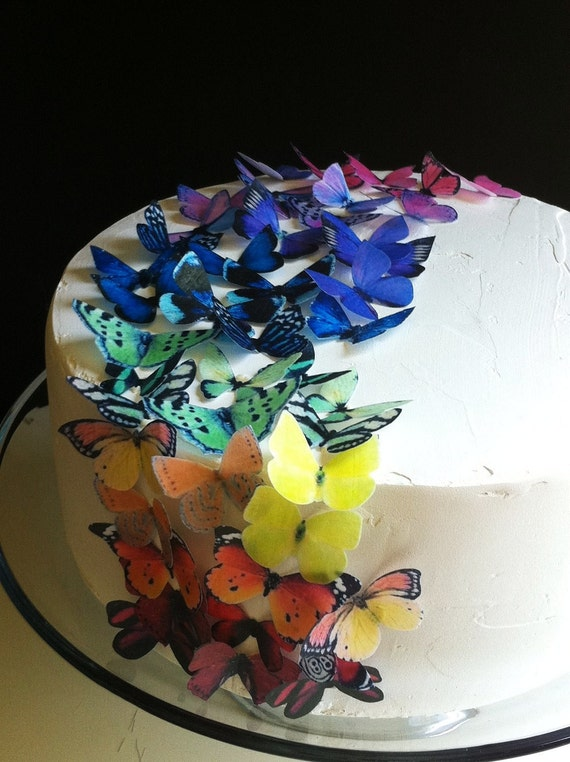 Wedding Cake Topper EDIBLE Butterflies The Original - Rainbow Collection 50 small - Cake & Cupcake toppers - PRECUT and Ready to Use