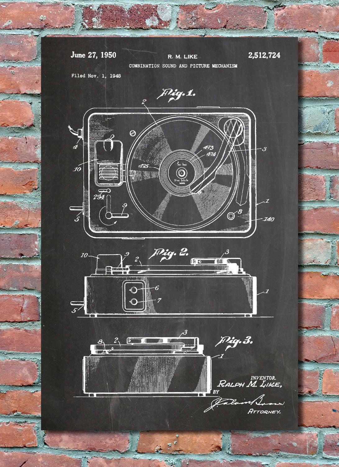 Record player patent wall art print record player patent art zoom malvernweather Image collections