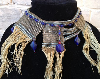 Necklace: Egyptian inspired bib statement beadwoven