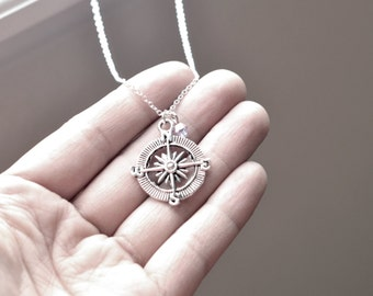 Silver Compass Necklace- Swarovski Crystal Bead- Personalized Gifts-  Birthstone Color- Customizable- Sterling Silver or Silver Tone Chain