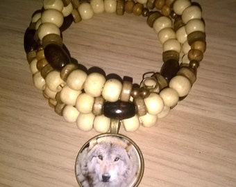 memory wire wolf multi layer wood and jasper wraparound bracelet