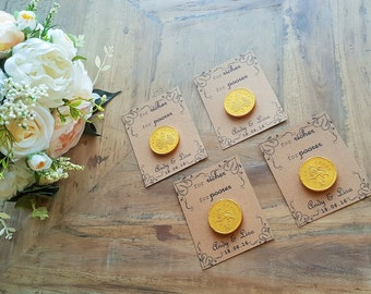 Vintage Style Personalised Wedding Favours: For richer For poorer with edible chocolate