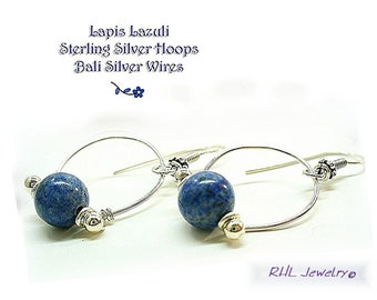 Lapis Lazuli Earrings,  Sterling Silver Doorknockers, 6th Chakra Blue Earrings E0908-02AA