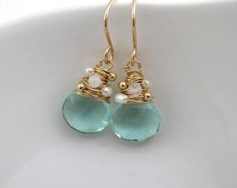 Aquamarine Quartz, Moonstone and Pearl Earrings- March Birthstone- Bridesmaid Jewellery - Gemstone Drop Earrings- Blue Earrings