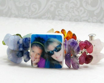 Gemstone Photo Charm Bracelet - P3B11GS