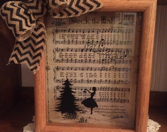 """Christmas """"Deck The Halls"""" 8 x 10 Shadow Box with music and silhouette  FREE SHIPPING"""