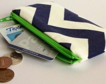 Zippered Coin Purse Wallet - Fabric Business Card Holder - Navy Chevron Stripes