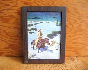 Vintage western. portrait cowboy. southwestern art. home decor. office decor. ranch decor.