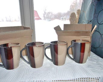 """Home Trends Bazaar Brown Stoneware 4 Mugs 4"""" Tall - NEW Old Stock - Free Shipping"""