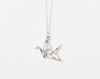 Silver Origami Crane Necklace | Paper Cut-out Crane | Antique Silver | Gift | Boho Jewelry | SALE