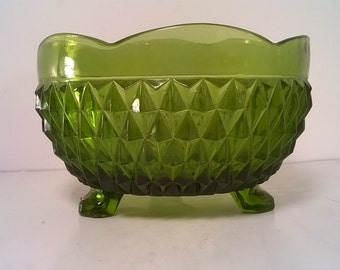 Footed Diamond Cut Green Glass Candy Bowl