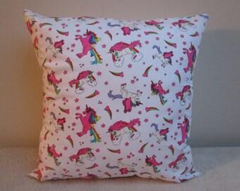 "Handmade Rainbow Unicorns Stars & Hearts Cushion Cover Pillow Cover  16"""