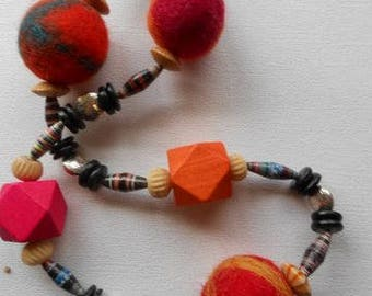 Boho Nepalese colourful  felt balls, paper beads and bright wooden beads necklace.