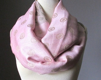 Women Blush infinity scarf , pale pink polka dots peach scarf, Lightweight Pashmina Spring scarf, Gift gifts for women, women scarves