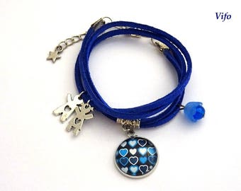 Adjustable suede strap * hearts * blue, small wrist, mother's day.