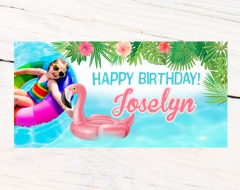 Pink Flamingo Personalized Banner, Happy Birthday Personalized Party Banners- Pool Party Photo Banner, Summer Fun Banner, Printed Banner