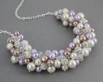 Wedding Necklace Pearl Cluster Necklace Purple and Taupe Necklace Bridesmaids Gift Pearl Necklace Vintage Style