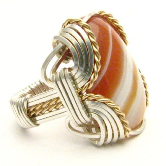 Handmade Wire Wrap Sterling Silver/14kt Gold Filled Red/White Sardonyx Ring