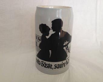 Villeroy & Boch Mettlach Stein 1908 Dancing Couple Music and German Phrase