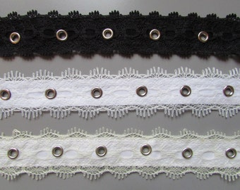 Lace 2.5cm  eyelet tape x 1 metre available in black white or cream