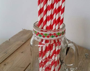 10 x red striped paper straws