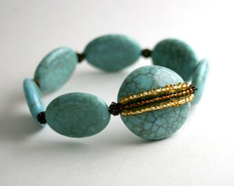Stretch Bracelet, Crackle Turquoise, Brown and Gold Seed Beads, Statement Bracelet, Glass and Stone, Boho Chic