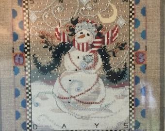 Mirabilia 'Snowy Days' Winter Holidays Snowman Counted Cross Stitch Chart
