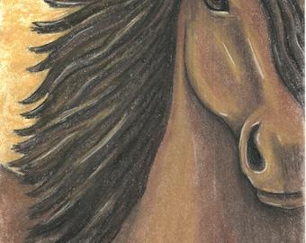 Original Pastel painting of Horse