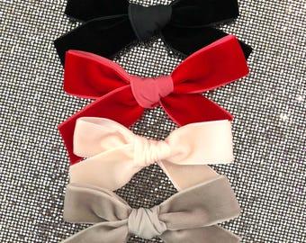 Velvet ribbon bows - red - black - grey - light pink - alligator clips - nylon headband - rubber bands