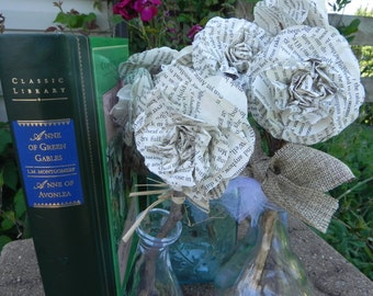 Book Flower, Anne of Green Gables, Kindred Spirits, Bouquet, pen, Gift, Decoration, Friends, Wedding, Book club, Book lover