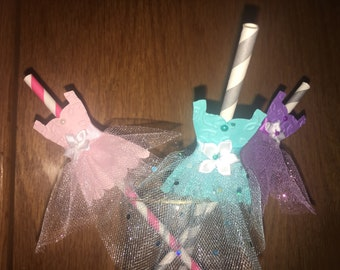 Ballerina party straws, princess party straws, ballet straws 12 ct