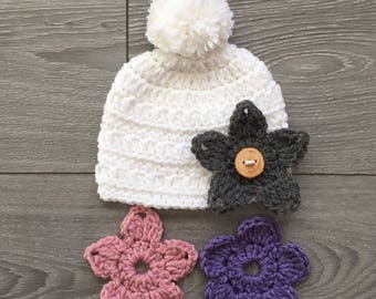 Ready to Ship - Crochet White Grace Hat with PomPom & 3 Interchangeable Flowers - Newborn Size