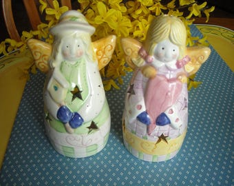 Angel Figurines Ceramic Multi-Color Tea Lite Candle Holders (2)