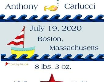 Nautical Birth Announcement-Linda Paige-Tolis-Personalized Nautical Nursery Art-Boy or Girl Boat Nursery Art