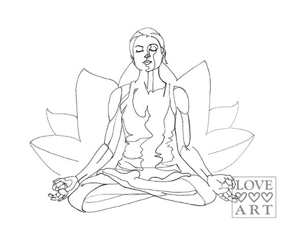 Yoga Art Print Lotus Pose Padmasana