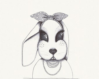 Black and white rabbit illustration poster