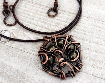 Golden Pyrite Pendant Necklace