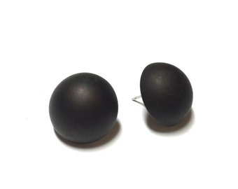 Black Stud Earrings | Jet Black Frosted Moonglow Buttons | Retro Button Studs | vintage lucite post earrings