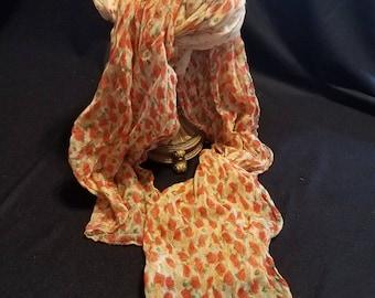 Long Sheer Orange Floral Design Scarf