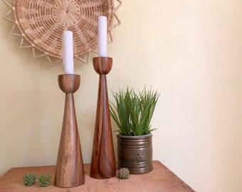 Vintage Mod Wood Candleholder Set, Mid Century Decor