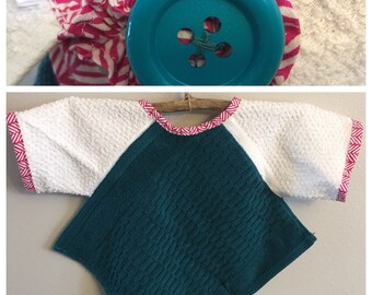 BL006 - FREE SHIPPING - Baby Bib with Sleeves, Toddler Bib with Sleeves, Button Clasp, Girl, Birthday, Pink, Teal