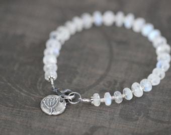 Moonstone Bracelet, 7mm, Chunky, Gemstone Bracelet, Beaded Bracelet, Sterling Silver, Dandelion, Charm Bracelet, Beaded, White, Botanical