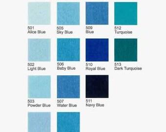 5 Plain Felt - Blue and Turquoise - 20cm x 20cm per sheet - Pick your own 5 colors