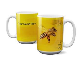 Personalized Honey Bee Coffee Mug, Custom Ceramic, Grabphic Art Customizable Coffee or Tea  Ceramic Large Mug 11 0r 15 ounce
