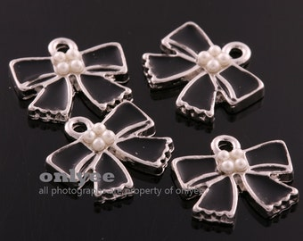4pcs-20mmX20mmSilver(Rhodium) plated over Brass Epoxy Enamel cute Black Ribbon With pearl deco Pendants,Charms(K654S)