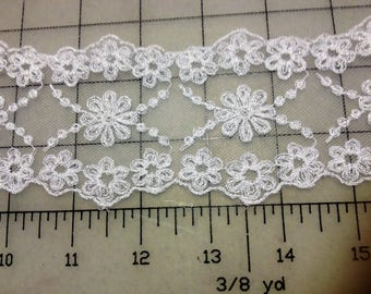 White Schiffli Embroidered Galloon Lace with Header by the yard  Item #6104