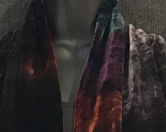 Hand Dyed Silk and Rayon Velvet Scarf in Grey Color Mix