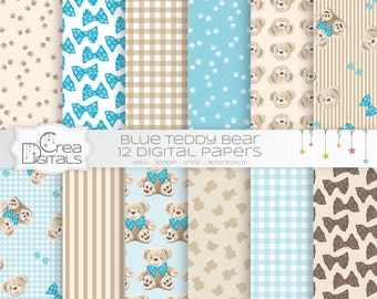 Teddy bear - 12 blue digital papers - INSTANT DOWNLOAD
