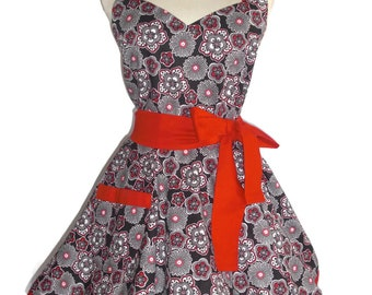 Sweetheart Retro Diner Apron Designer Black and Red Red Accents Circular Flirty Skirt